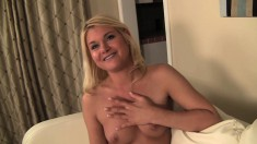Beautiful blonde girl with perky boobs Randee loves to suck and fuck
