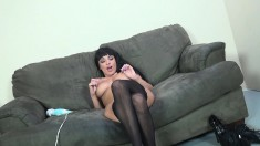 Buxom brunette in stockings Anissa Kate is always ready for a big cock