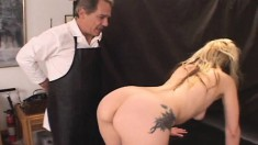 Zoe gets her pussy examined for some toying and fucking, then eats cum