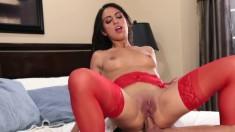 Bodacious brunette hottie in red lingerie indulges in torrid anal sex