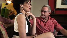 Granny gets horny and gets grandpa excited and sucks his rod