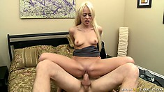 She brings her cunt a little closer to climax by riding that cock with intensity