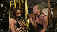 Blonde mistress Kathia gags her slave and gets her hot wax ready