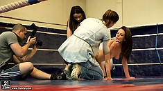 Mira Shine and Sophie Lynx get involved in a sensuous fight in the ring