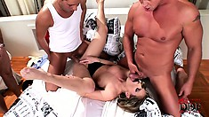 The cutie has them stretching her tight holes and takes their cum all over her body