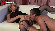The wild lady has him licking her pussy before driving his dick deep inside it