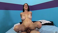 He eats and fucks her tight pussy, making her titties bounce