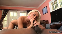 After licking her juices off his cock she rides his cock and swallows his cum