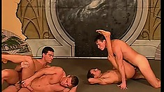 Hung dudes with great muscles fuck hard during a rough foursome