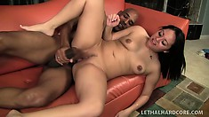Exotic babe's tits bounce while she rides a turgid black fuck stick