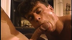 Young guy Adam gets his juicy butt hole pounded rough by the fireplace