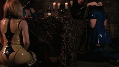 Mistress Jean is into latex and gets her slaves in them too and teases at first