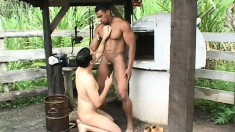 Submissive cowboy gets his ass brutally punished by a black cock