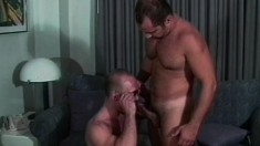 A gay cop bends his lover over and pounds his horny ass hard