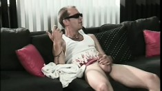 Johnny Toxic's rock hard cock gets some oral cleaning in a black mouth