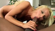 Gorgeous Blonde Attacks A Big Black Rod