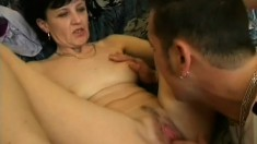 Short haired granny in need of an orgasm turns to a young cock