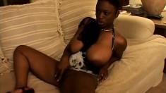 A feisty ebony diva bounces her huge juicy booty on a hard dick