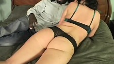 Brunette is woken up by an interracial black dong and humps for cum