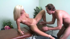 Big-breasted Jessica gets her slit stretched by a horny masseur