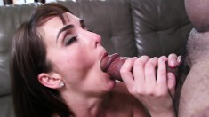 Slender brunette blows and rides Shane Diesel's huge dick with passion