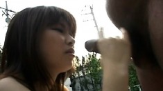 Petite Asian girl gets her cunt pleased and then gives a nice handjob