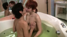 Luscious teen Amber explores her wild lesbian desires in the hot tub