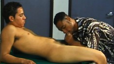 Latino gays start with head and then he bends over to get tapped
