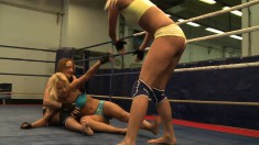 Carla Cox, Andy Brown and Nikky Thorne wrestle for the taste of pussy