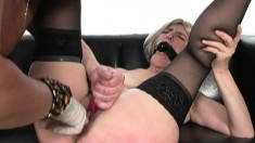 Submissive old lady in black stockings is craving for intense pleasure