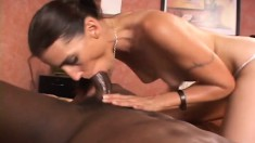 Wild brunette hooks up with a black stud and no hole is left untouched