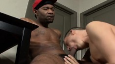 Pretty white boy surrenders his hungry anal hole to a large black dick