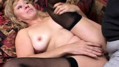 Mature blonde is banged by two black dicks and gets it up the ass