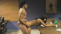 Stacked Ebony Lady Rubs Her Clit While Taking A Stiff Dick In Her Ass