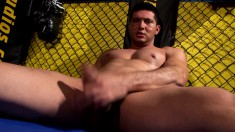 Caged stud Will Evans reveals his body and pleases his throbbing pole
