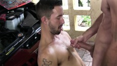 Hot mechanics take a break to suck cock and have anal sex in the garage