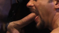 Two muscled hunks give each other blowjobs and anal creampies