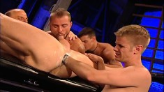 Two gays stick out their asses for some deep toying and fisting