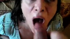 Sensual brunette milf with big breast gives blowjob in POV