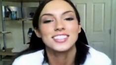 Webcam brunette teen striptease
