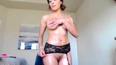 MILF sucks on her big saggy boobs and dancing