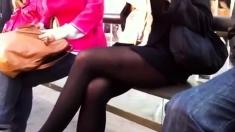Pantyhose, High Heels And Short Skirt At Bus-stop