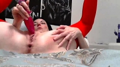 Solo mature slut toying her experienced cunt