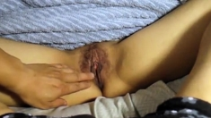 Wife's Legs Spread Wide Open And Pussy Exposed