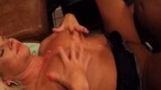 Cumming on her face while someone fucks her