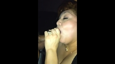 Rae Lynn doing her oral thing right before he cums