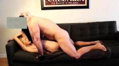 Blonde chick fucked by a older dude